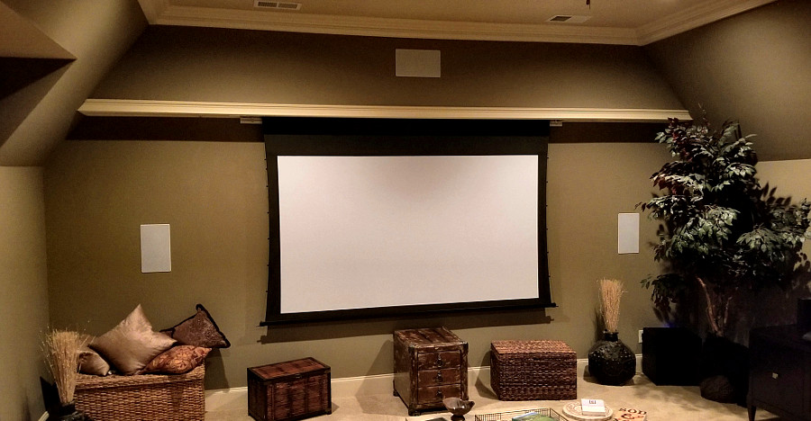 Home Theater With Custom Built Electric Screen Facade   College Grove, TN