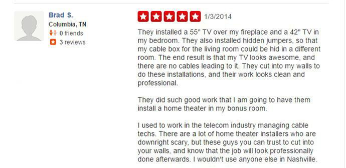 United Audio Video Systems 5-Star Review From Yelp